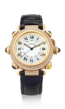 CARTIER | A FINE AND VERY RARE YELLOW GOLD, DIAMOND AND GEM-SET AUTOMATIC WRISTWATCH WITH GOLF STROKE COUNTER<br />PASHA GOLF CIRCA 1998