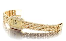 PATEK PHILIPPE | A FINE LADY'S YELLOW GOLD AND DIAMOND-SET RECTANGULAR BRACELET WATCH<br>REF 4825/150J-001 MVT 3300875 CASE 4213358 CIRCA 2002<br><br>