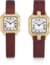 CARTIER | A LOT OF TWO LADY'S YELLOW GOLD AND DIAMOND-SET OCTAGONAL WRISTWATCHES<br />CEINTURE CIRCA 1985<br /><br />
