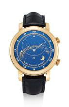 PATEK PHILIPPE | A VERY FINE YELLOW GOLD AUTOMATIC ASTRONOMICAL WRISTWATCH WITH SKY CHART, PHASES AND POSITION OF THE MOON AND TIME OF MERIDIAN PASSAGE OF SIRIUS AND THE MOON<br />REF 5102J-001 MVT 3580095 CASE 4442112 CELESTIAL CIRCA 2007