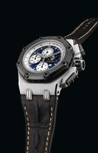 AUDEMARS PIGUET | A FINE AND RARE LIMITED EDITIONPLATINUM AND CERAMIC AUTOMATIC CHRONOGRAPH WRISTWATCH WITH DATE, TACHOMETER AND REGISTERS <br />NO 037/150 CASE F73832 ROYAL OAK OFFSHORE RUBENS BARRICHELLO CIRCA 2007