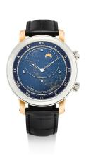 PATEK PHILIPPE | A VERY FINE AND RARE PLATINUM AND PINK GOLD AUTOMATIC ASTRONOMICAL WRISTWATCH WITH SKY CHART, PHASES AND POSITION OF THE MOON AND TIME OF MERIDIAN PASSAGE OF SIRIUS AND THE MOON<br />REF 5102PR MVT 5512894 CASE 4525454 CELESTIAL CIRCA 2010
