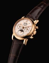 PATEK PHILIPPE | A FINE PINK GOLD PERPETUAL CALENDAR CHRONOGRAPH WRISTWATCH WITH REGISTERS, MOON-PHASES AND LEAP-YEAR INDICATION <br />REF 3970ER-016 MVT 3045872 CASE 4010808 CIRCA 1999