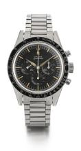 OMEGA   A RARE STAINLESS STEEL CHRONOGRAPH WRISTWATCH WITH REGISTERS AND BRACELET<br />REF 2998-6 MVT 19832503 SPEEDMASTER MADE IN 1963