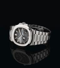 PATEK PHILIPPE | A STAINLESS STEEL AUTOMATIC WRISTWATCH WITH DATE, POWER RESERVE INDICATION, MOON-PHASES AND BRACELET<br />REF 5712/1A MVT3170014 CASE4375923 NAUTILUS CIRCA2006