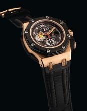 AUDEMARS PIGUET | A LIMITED EDITION PINK GOLD, CERAMIC AND FORGED CARBON AUTOMATIC CHRONOGRAPH WRISTWATCH WITH DATE AND REGISTERS<br />CASE G89644 NO 071/650 ROYAL OAK OFFSHORE GRAND PRIX CIRCA 2010