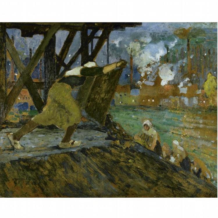 JULES ADLER FRENCH, 1865-1952 WOMEN WORKING AT DAWN