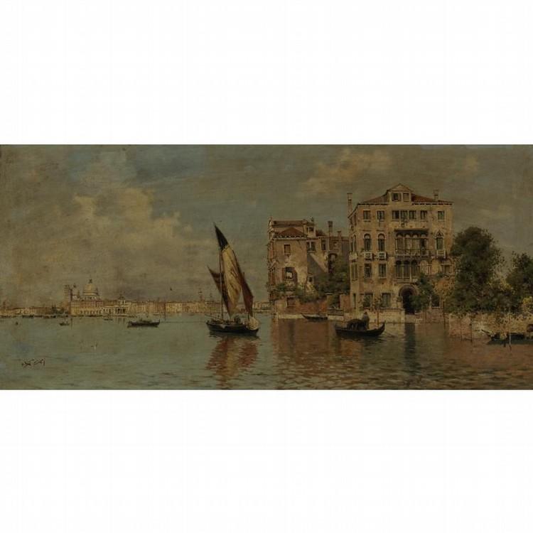ANTONIO MARÍA DE REYNA SPANISH, 1859-1937 VENETIAN CANAL