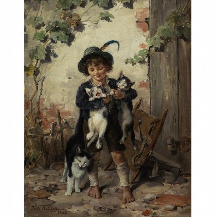JULIUS II ADAM GERMAN, 1852-1913 YOUNG BOY WITH THREE CATS