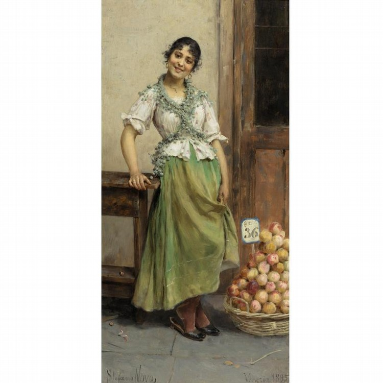 STEFANO NOVO ITALIAN, B. 1862 THE PEACH SELLER