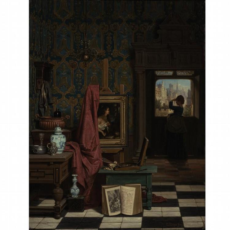 CHARLES JOSEPH GRIPS BELGIAN, 1825-1920 THE ARTIST'S STUDIO
