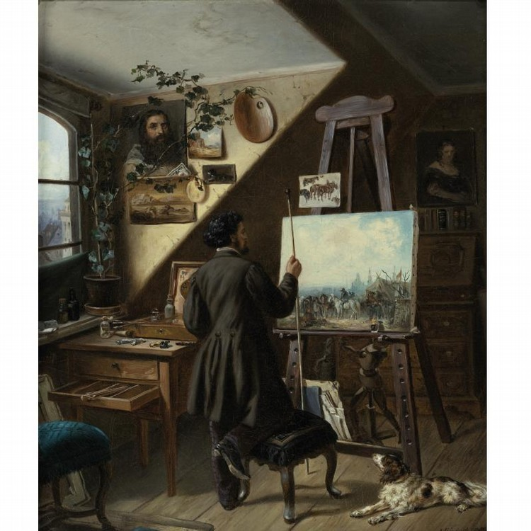 GUSTAV ADOLF FRIEDRICH GERMAN, 1824-1889 PAINTING HORSES IN THE STUDIO, A SELF PORTRAIT