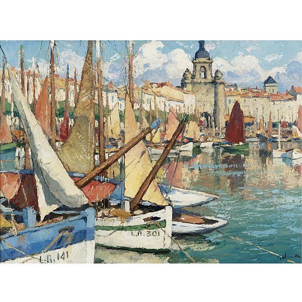 Gaston Balande 1880-1970 , Le Port de la Rochelle Oil on paper mounted on canvas