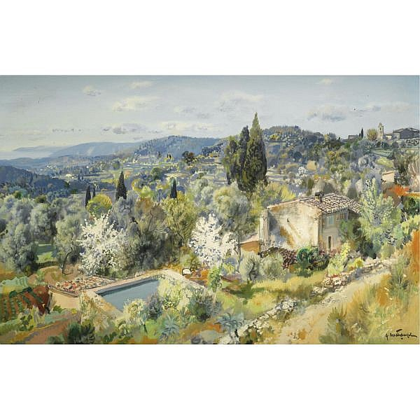 Gabriel Deschamps b.1919 , Panorame D'Eze   Oil on canvas