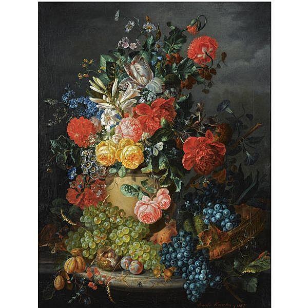 Amalie Kaercher , German d. 1871 a flower still life with grapes oil on canvas