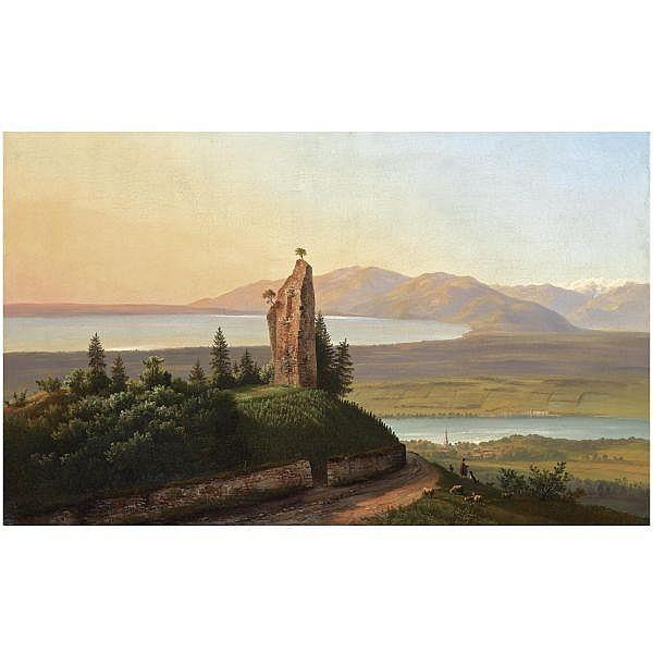 Karl Christian Sparmann , German 1805-1864 'Ruine des Schloss Hammerstein am Bodensee' oil on canvas