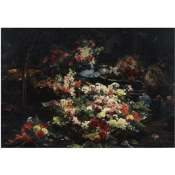 Georges Jeannin , French 1841 - 1925   An abundance of flowers in the artist's studio oil on canvas
