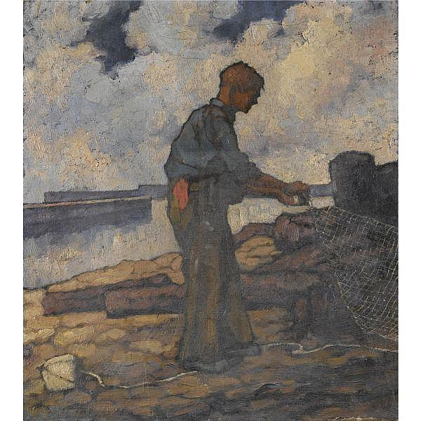 Lilian Davidson, A.R.H.A. , 1893-1954 The Netter, Arklow oil on canvas, unframed