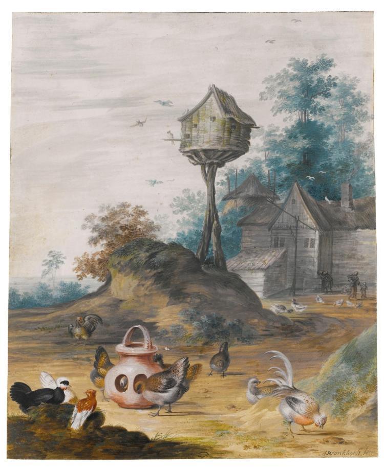 JOHANNES BRONCKHORST | A farmyard scene with hens feeding