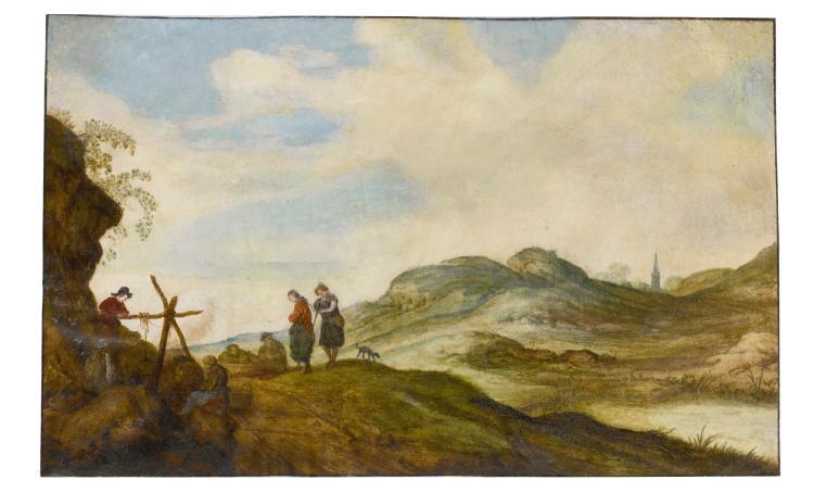 WILLEM DE HEER | Landscape with figures cooking on an open fire