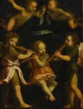 CIRCLE OF BERNARDINO LUINI | Three flute playing angels with two putti in flight above