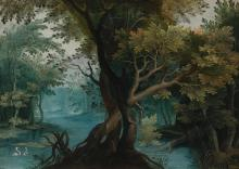 ANTWERP SCHOOL, 17TH CENTURY | A wooded river landscape with two geese in the foreground