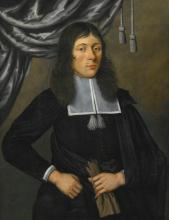 EDWAERT COLLIER | Portrait of a gentleman, three-quarter length, in a black cape, holding a glove, standing in front of a curtain