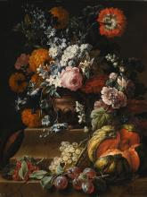 GASPAR PEETER VERBRUGGEN THE YOUNGER | Still life with hollyhock, carnations, and various flowers in a vase on a plinth with a melon, cherries, grapes and plums on a ledge