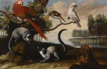 CIRCLE OF TOBIAS STRANOVER | Lemurs, a scarlet macaw, a red-billed parrot and a cockatoo, in an exotic landscape