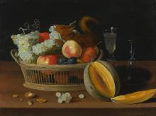 JACOB FOPPENS VAN ES | Still life with a basket of fruit and a squirrel, glasses, and a cut melon on a tabletop