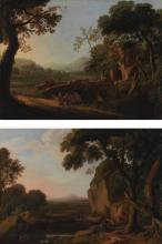 ATTRIBUTED TO ANGELUCCIO | Two landscapes with travellers