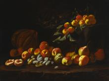 ANTHONY OAKSHETT | Still life of peaches, pears, quince, figs, melon and other fruit