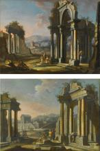 GIUSEPPE ZOCCHI | Architectural <em>capricci</em> with figures among classical ruins: a pair