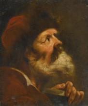 ATTRIBUTED TO DOMENICO MAGGIOTTO | A head study of a bearded man in a red fur lined cap