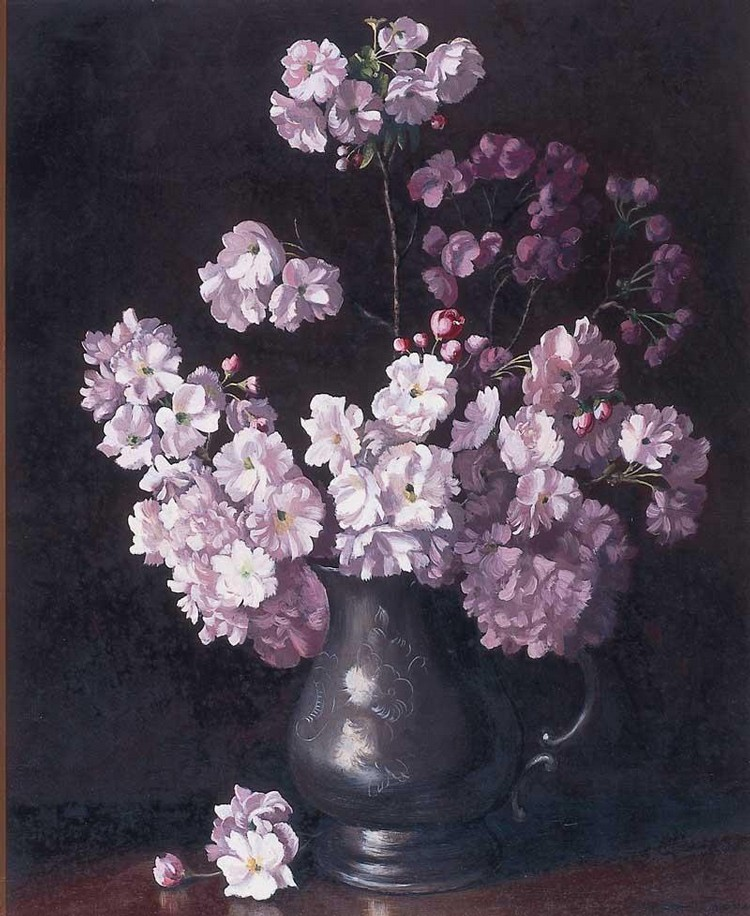 ALBERT SHERMAN 1882-1971 BLOSSOM IN A PEWTER JUG