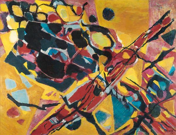 Jean-René Bazaine , 1904-1995   Pierres, arbres et plaine huile sur toile