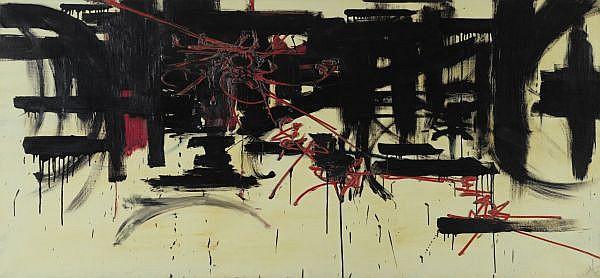 Georges Mathieu , n. 1921   Composition huile sur toile