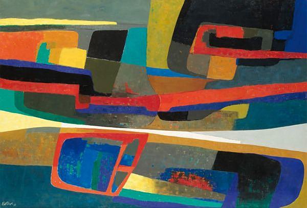 Maurice Estève , 1904-2001 Faverdines huile sur toile