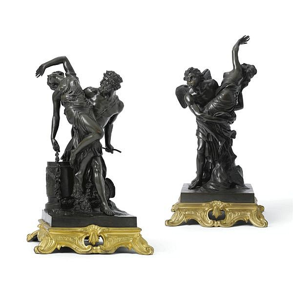 A fine pair of French gilt and patinated bronze raptus groups, cast from models by Louis-Simon Boizot, 1743-1809