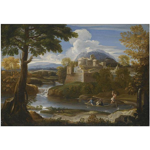 Giovanni Franceso Grimaldi , Bologna 1606 - 1680 Rome A river landscape with an elegant couple boating in the foreground oil on canvas, in a carved gilt wood frame