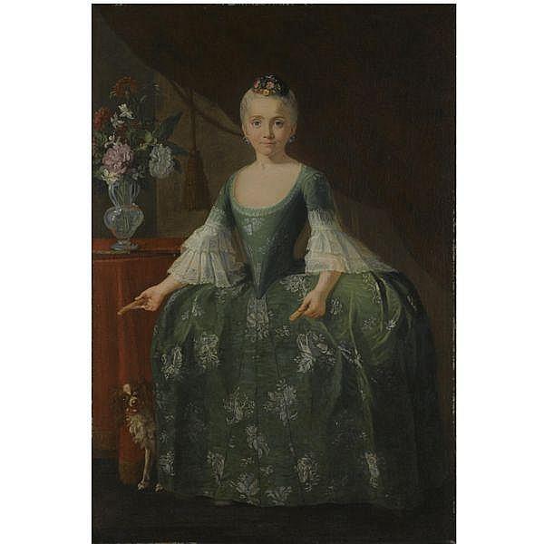 Giuseppe Bonito , Castellammare di Stabia, near Naples 1707 - 1789 Naples Portrait of the Infanta María Luisa de Borbón (1745-1792), full length, standing beside a vase of flowers oil on canvas