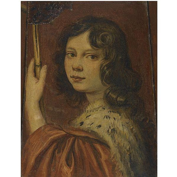 Attributed to Giovanni Mannozzi, called da San Giovanni , Valdarno 1592 - 1636 Florence Portrait of a Young man tempera on terracotta, a fragment, irregular shape