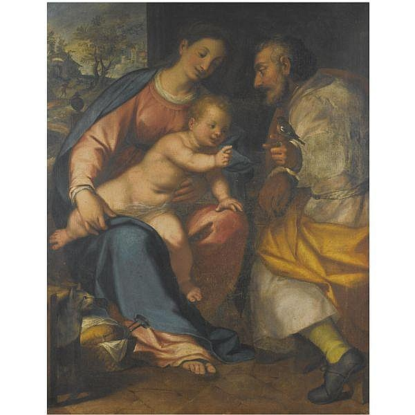 Giovanni Battista Paggi , Genoa 1554 - 1627 (?) the holy family oil on canvas