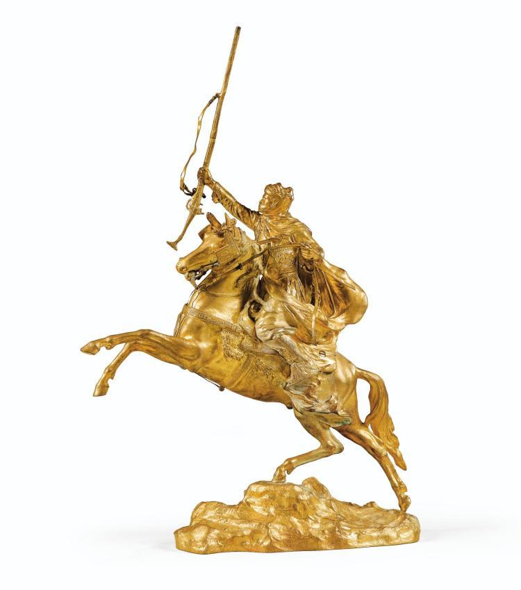JEAN-BAPTISTE BELLOC, (1863-1919) CAVALIER ARABE SUR SON CHEVAL CABRÉ | Cavalier Arabe sur son cheval cabré