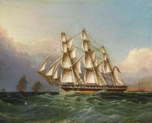 JAMES EDWARD BUTTERSWORTH 1817 - 1894 | U.S.S. Constitution (Old Ironsides) Off Sandy Hook (3 Master Forty Guns)