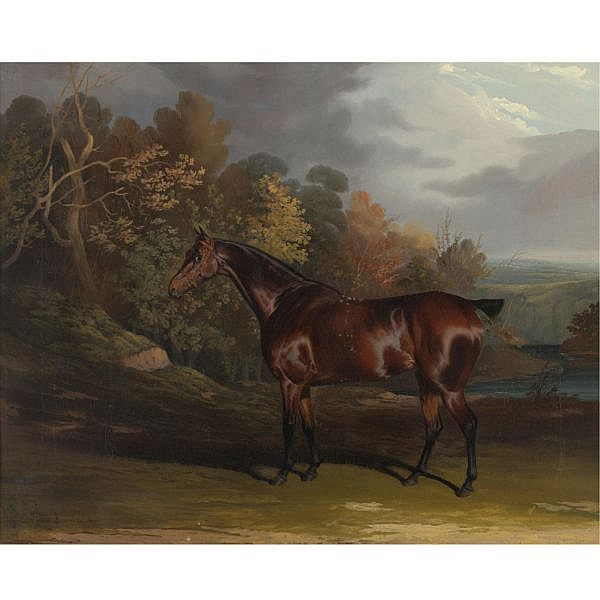 David Dalby of York , British 1794-1836 A Bay Hunter in a Sylvan Landscape oil on canvas