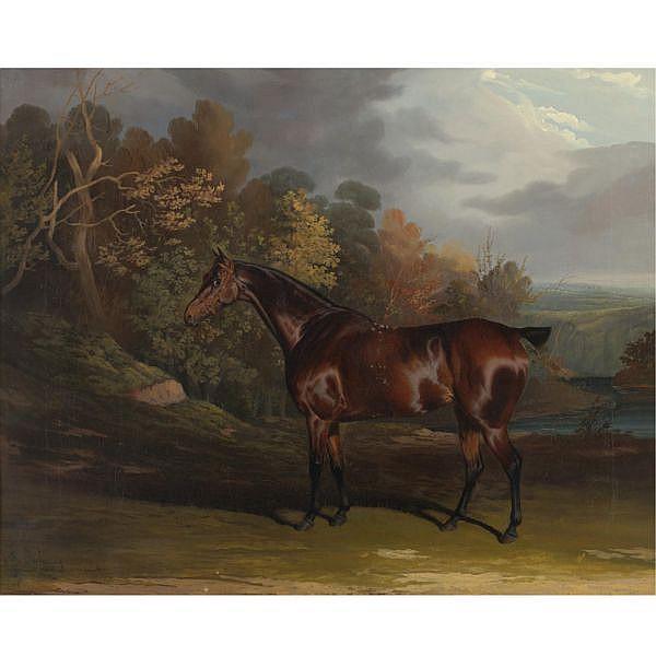 David Dalby of York , British 1794-1836 A Bay Hunter in a Sylvan Landscape oil on canvas