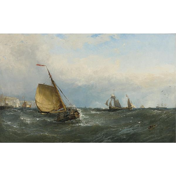 Edwin Hayes, R.H.A., R.I., R.O.I. , Irish 1820-1904 Dutch Boats off Dover oil on canvas