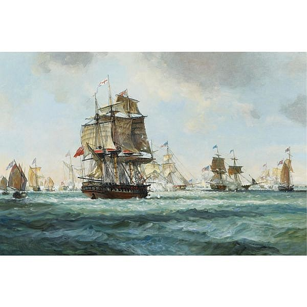 Leslie Arthur Wilcox , British 1904-1987 The Battle Over Lake Champlain, 1814 oil on canvas