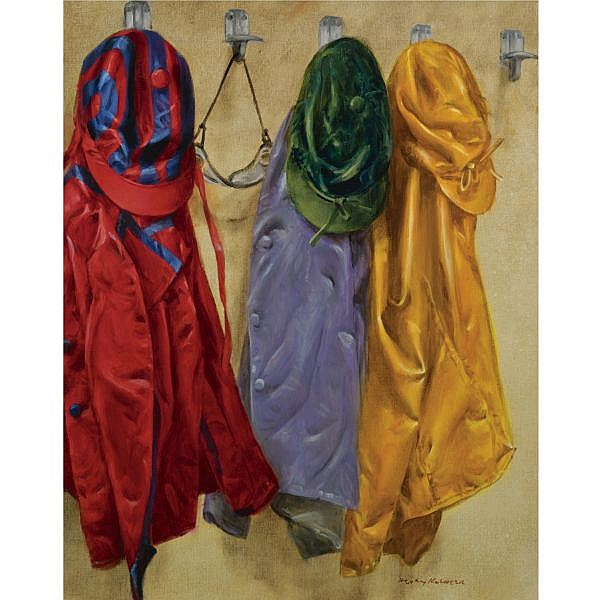 Henry Koehler , American b. 1927 Colours Hanging, Deauville oil on canvas